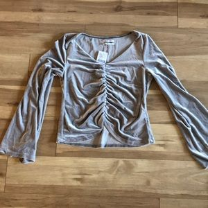 NWT Urban Outfitters Velvet Silver Top